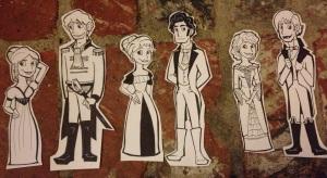 ....Lydia, Wickham, Elizabeth, Darcy, Jane, Bingley...
